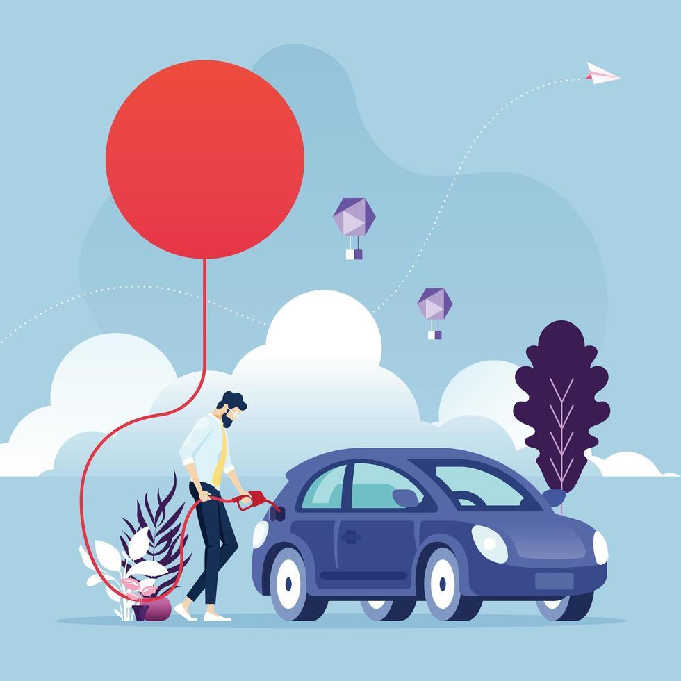 Konzept-Geschäftsmann für erneuerbare Energien, der ein Auto mit Sonnenenergie tankt vektor