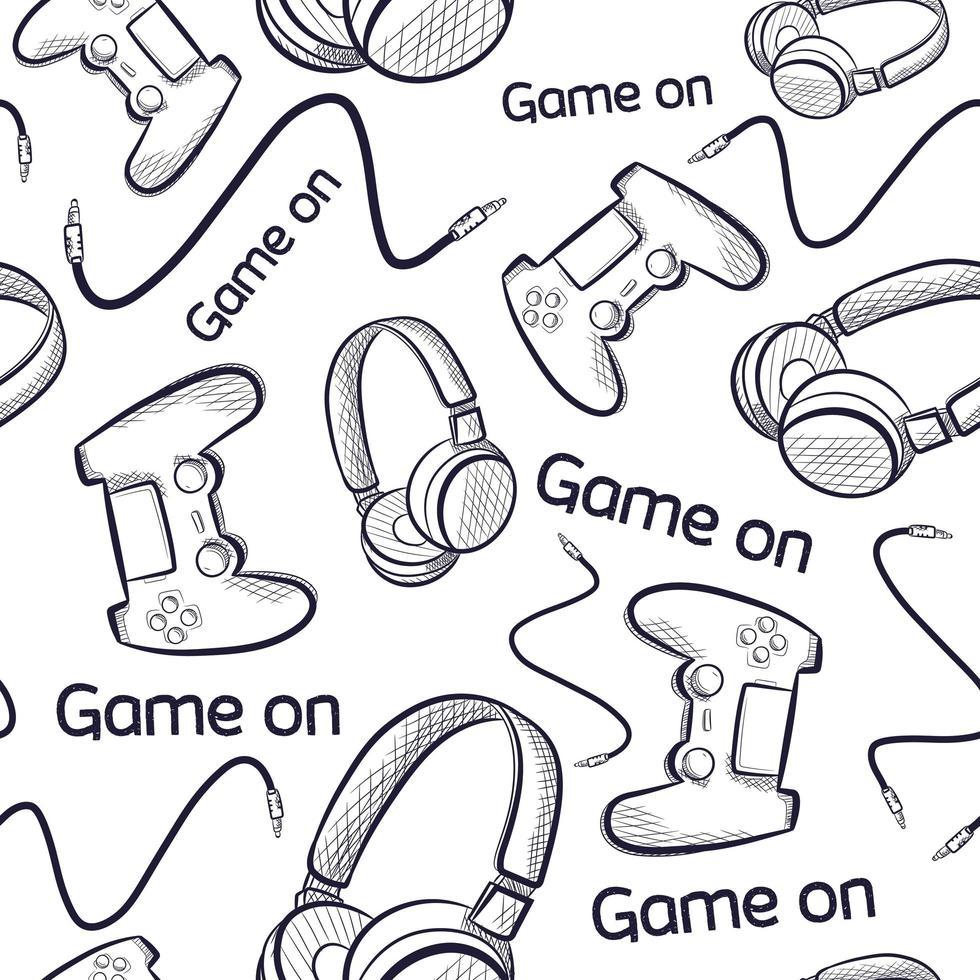 Geek nahtloses Muster mit Gamepads und Kopfhörern. vektor