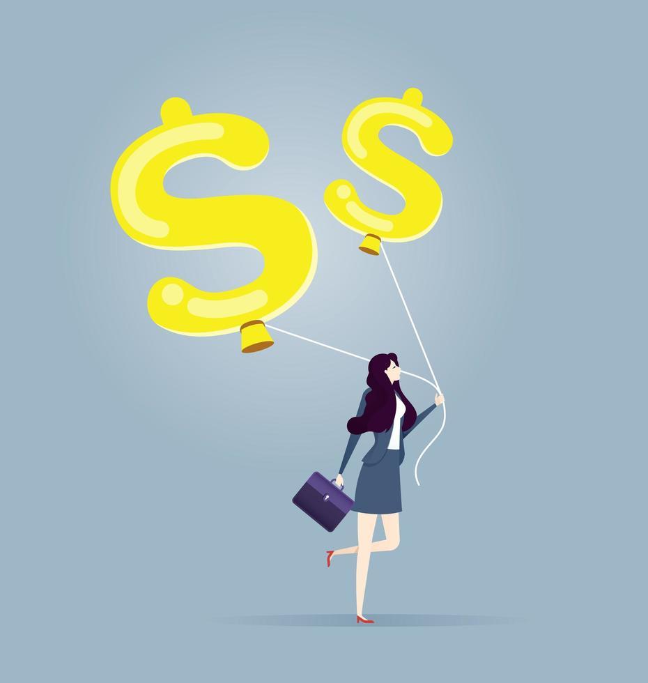 affärskvinnan rymmer ballonger i form av dollartecken - affärs- och finansbegrepp. vektor