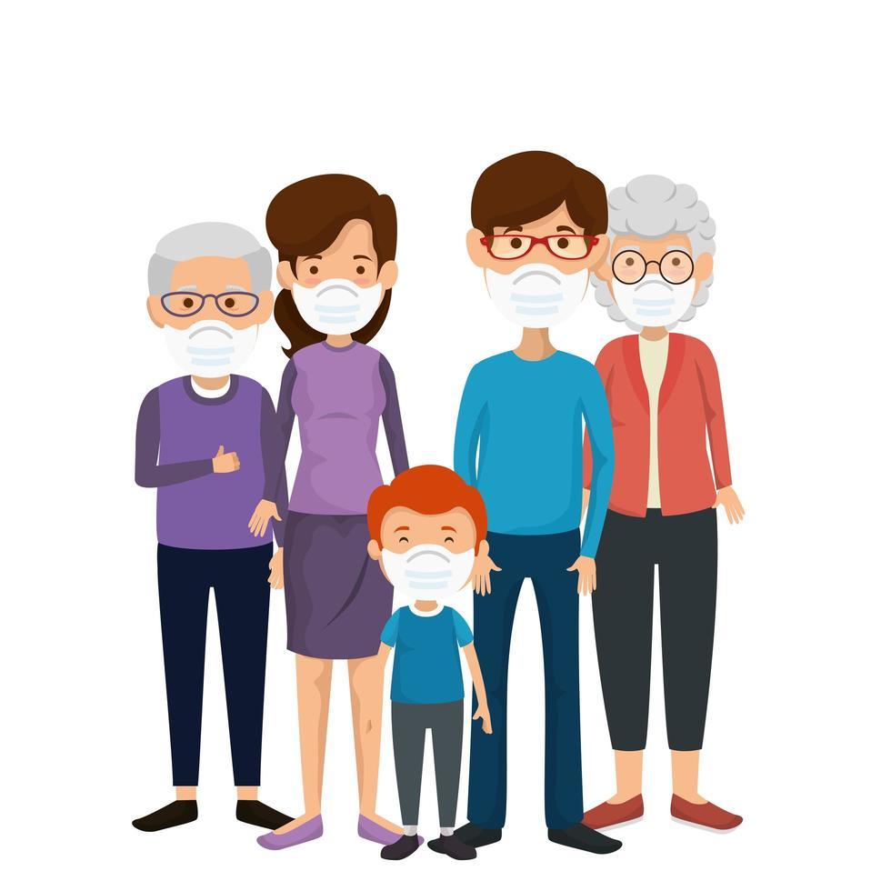 Familienmitglieder mit Gesichtsmaske vektor