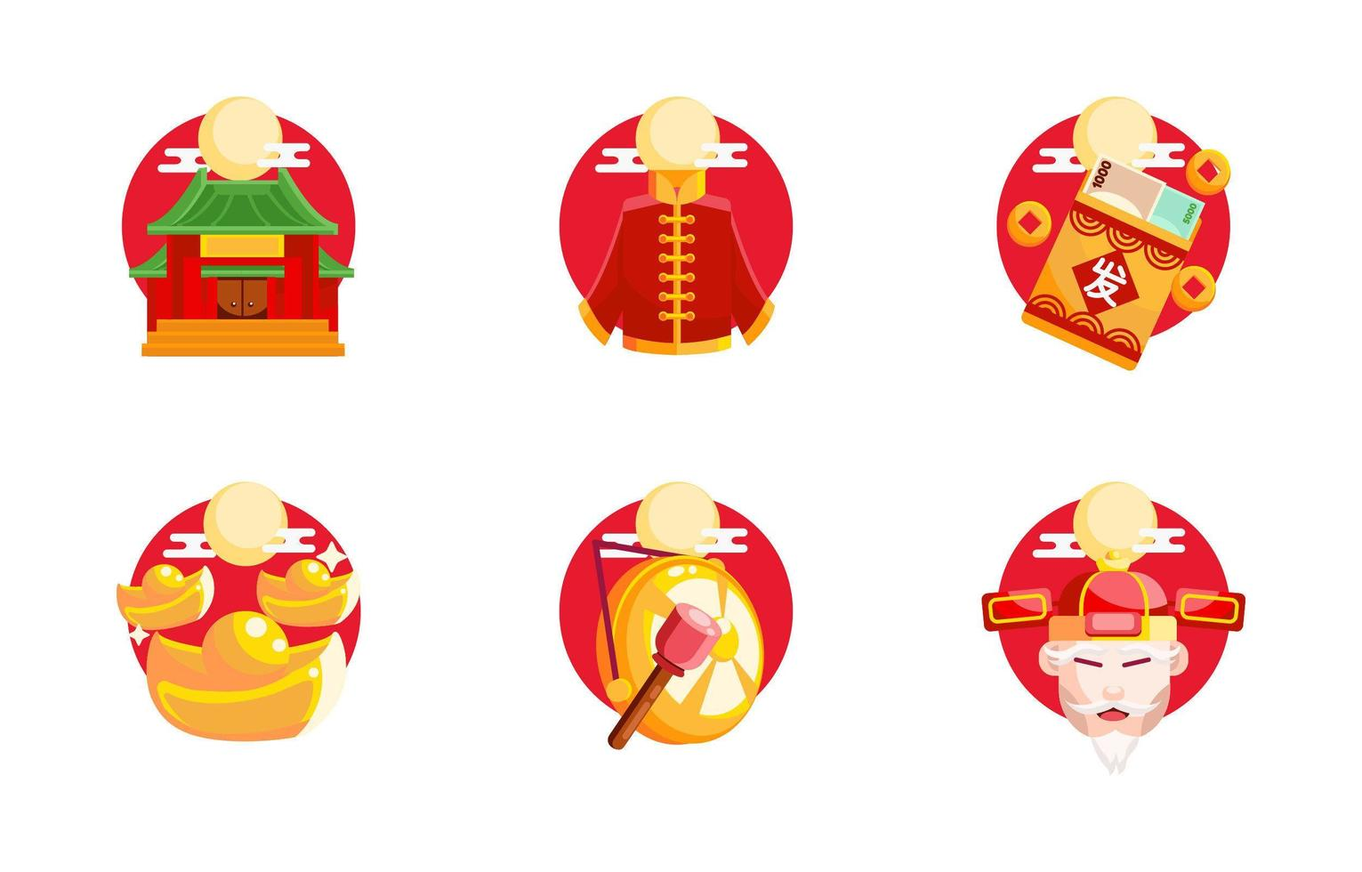 uppsättning festligheter ikoner av kinesiska nyåret vektor