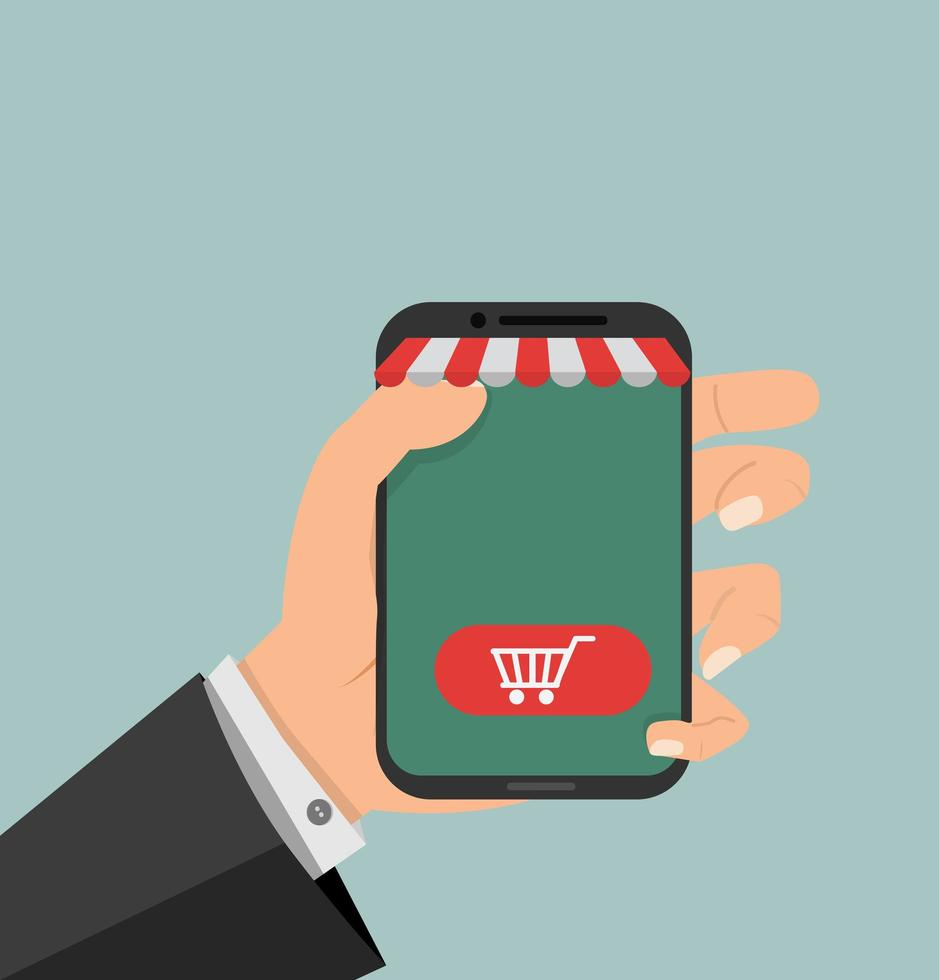 hand som håller en smartphone, online shopping koncept vektor