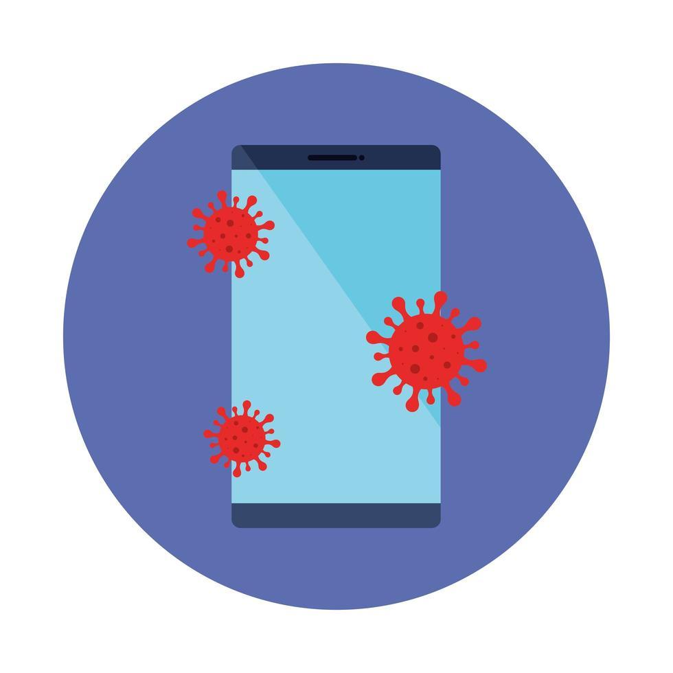 smartphone med partiklar covid 19 isolerad ikon vektor