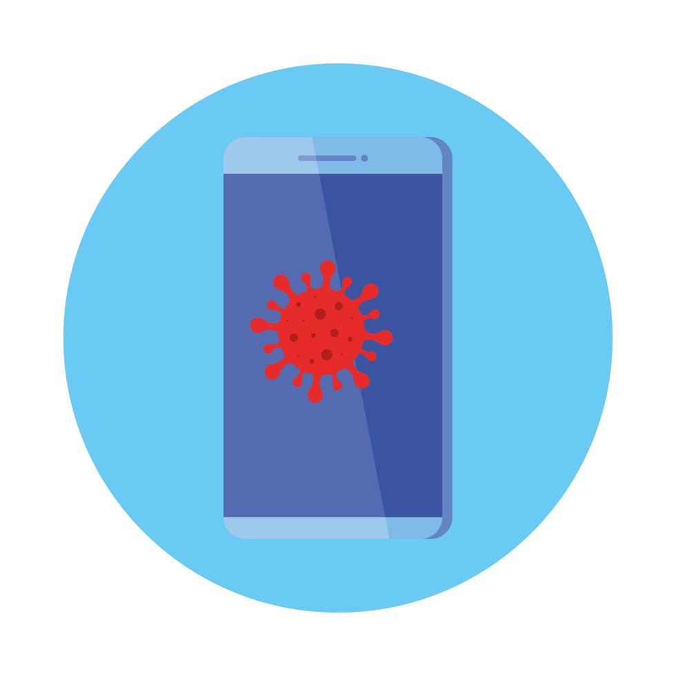 smartphone med partikel covid 19 isolerad ikon vektor