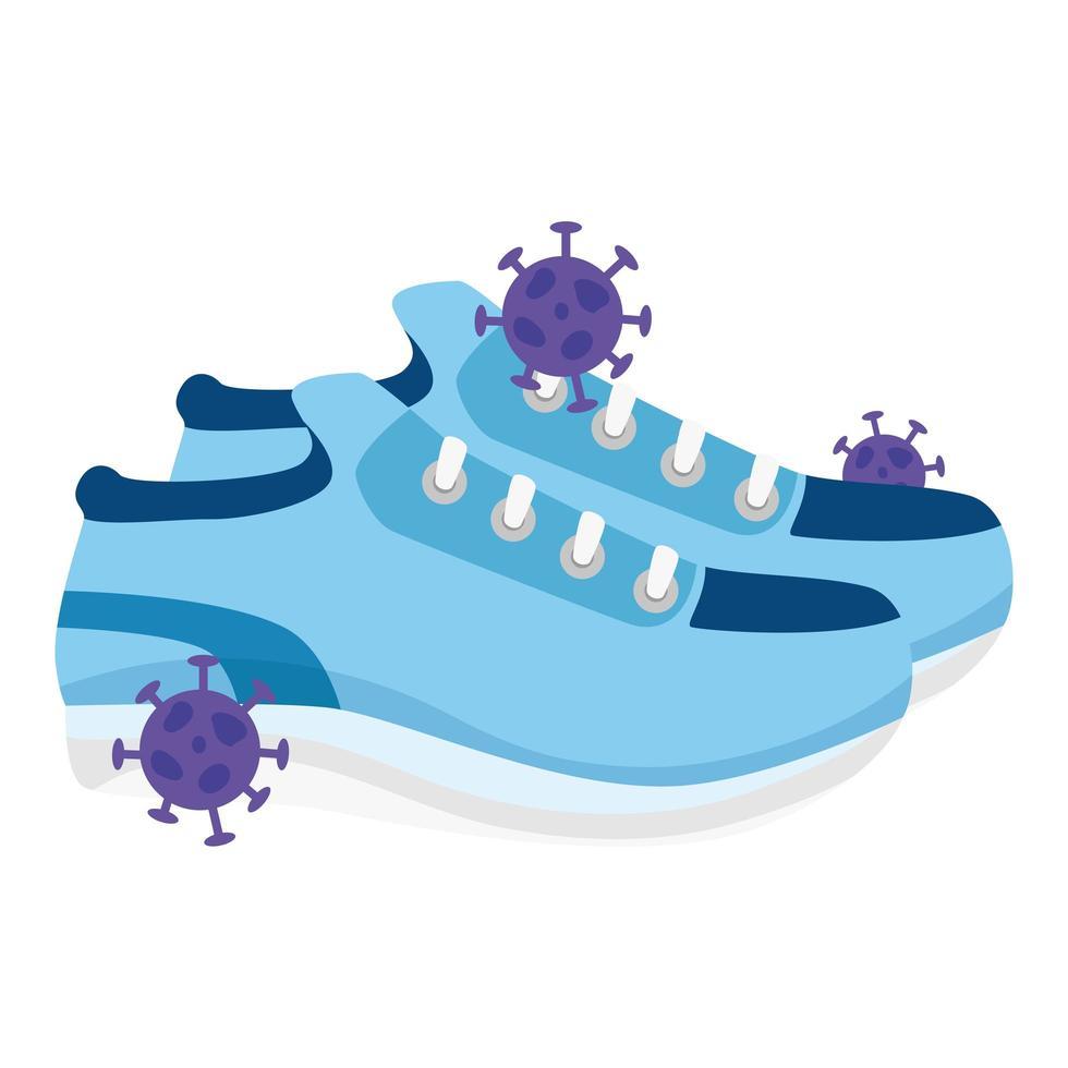 skor med partiklar covid 19 isolerad ikon vektor