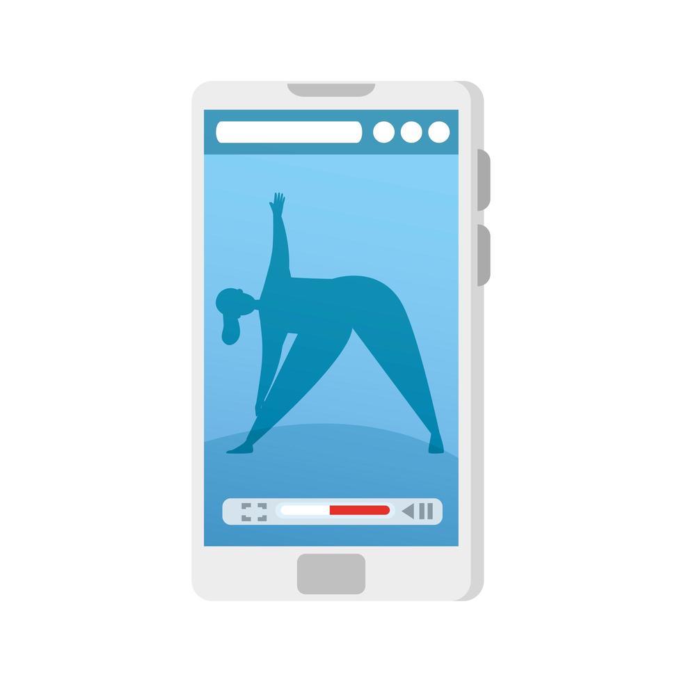 smartphone-enhet med applikationsyoga online, hälsosam livsstil vektor