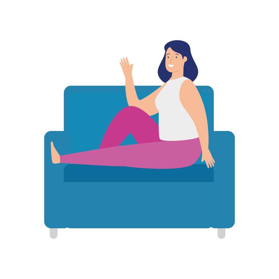 ganska ung kvinna som sitter i soffan på vit bakgrund vektor
