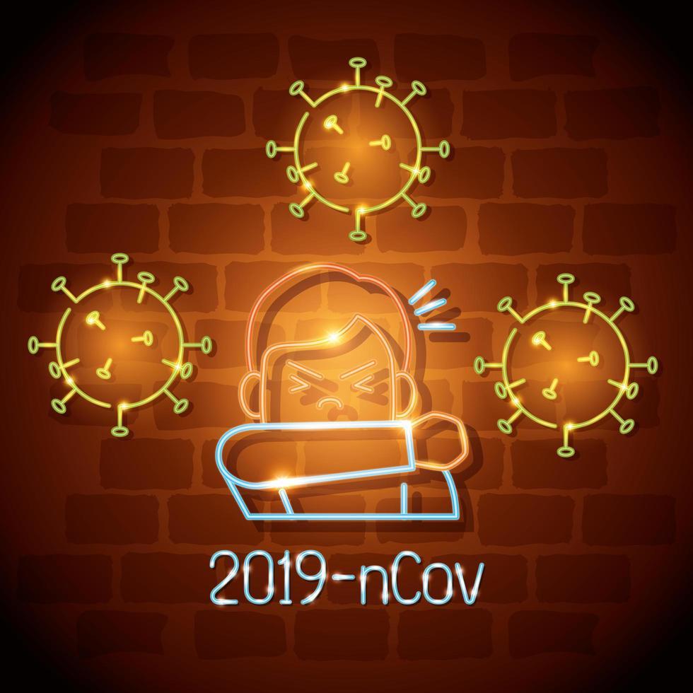 neonljus symbol covid 19 coronavirus, man hostar vid armbågen, farligt pandemi coronavirus utbrott neonljus glödande vektor