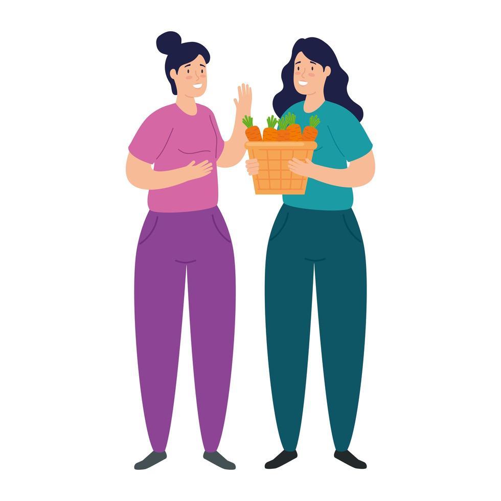 unga kvinnor och korg med moröttergrönsaker på vit bakgrund vektor