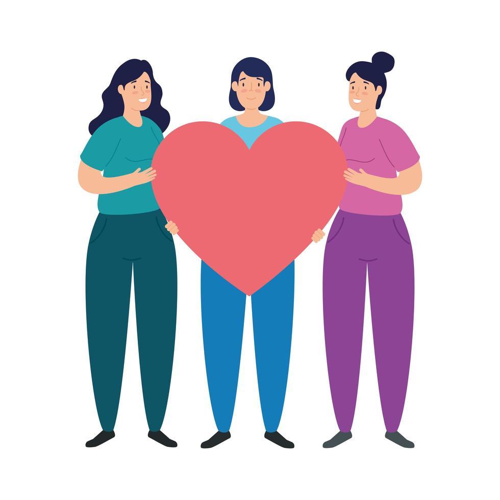unga kvinnor med hjärta på vit bakgrund vektor