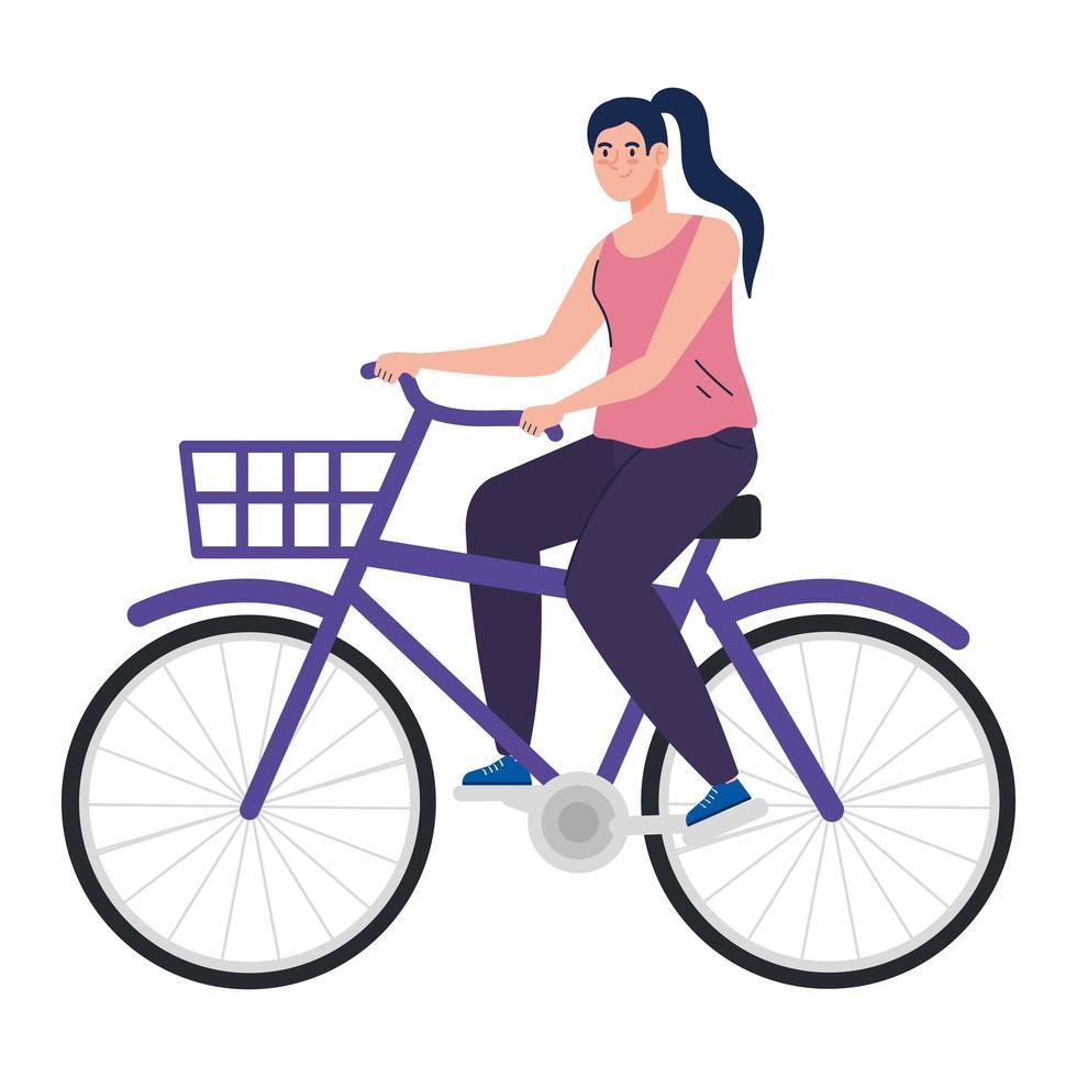 ganska ung kvinna i cykel på vit bakgrund vektor