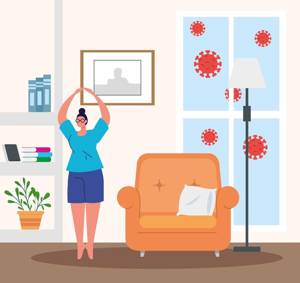 stanna hemma, kvinna som tränar, karantän eller självisolering vektor