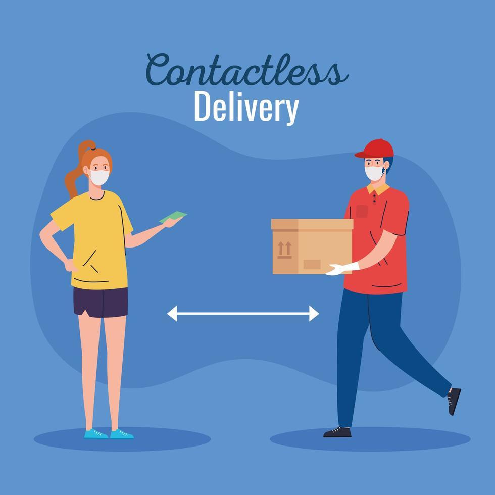 säker kontaktlös leveranskurir till hus av covid 19 vektor