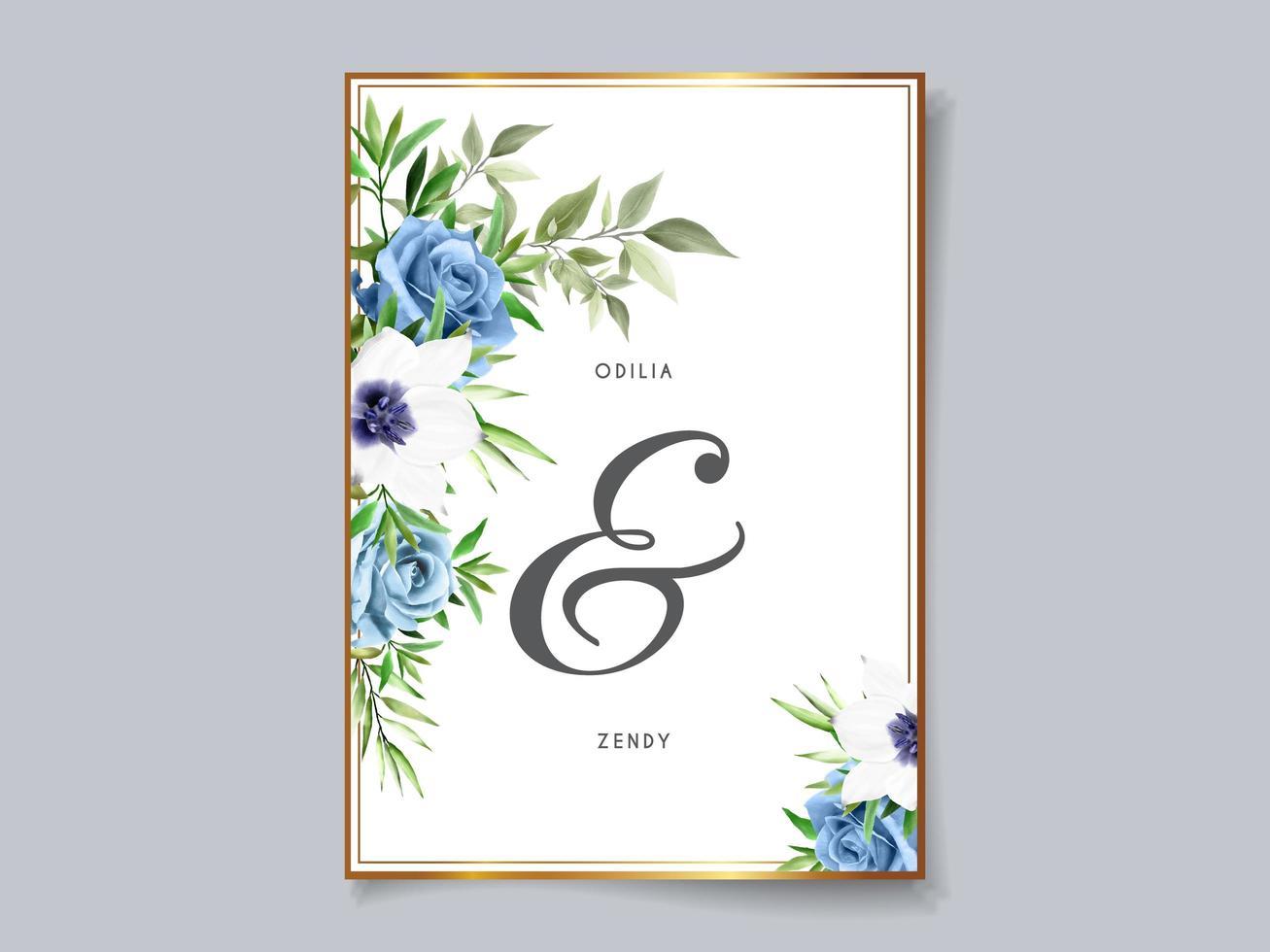 schöne Blumenhochzeitseinladungskartenschablone vektor