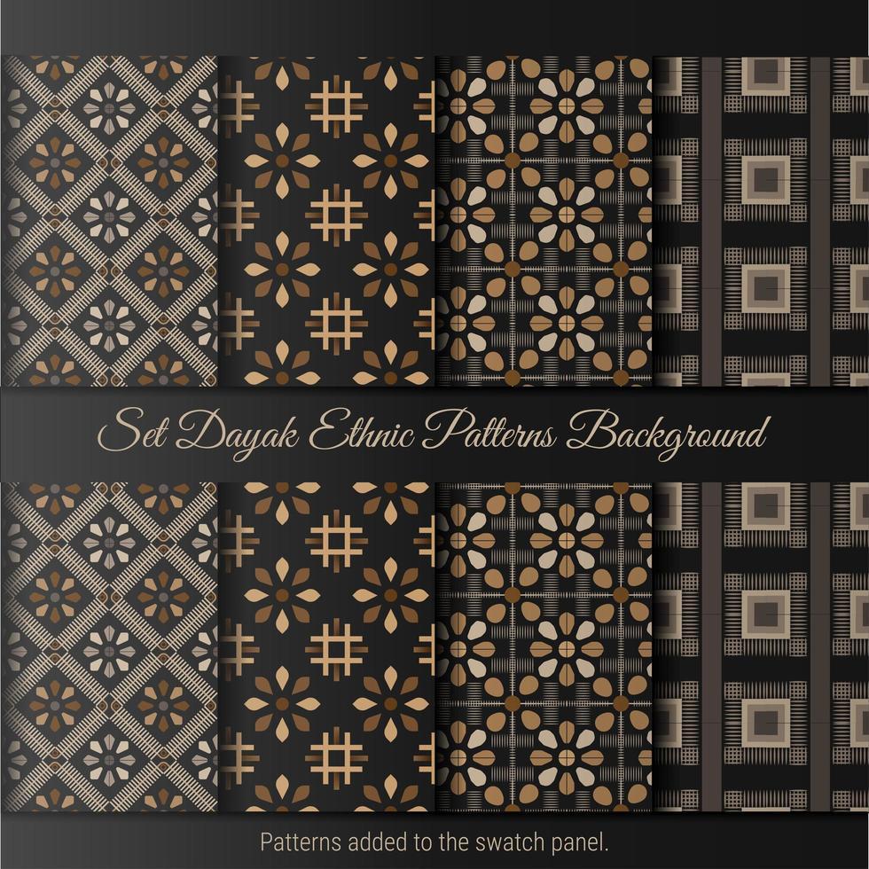 Set Dayak ethnischen Muster Hintergrund. indonesisches Batikmuster. vektor