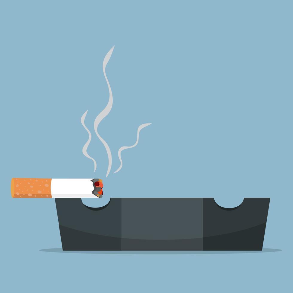 cigarett brinner i askkopp vektor
