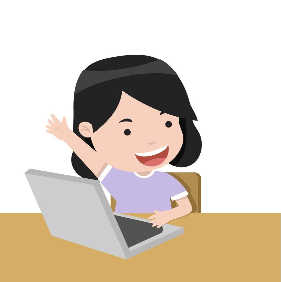 Student das Mädchen hebt seine Hand für eine Antwort vektor