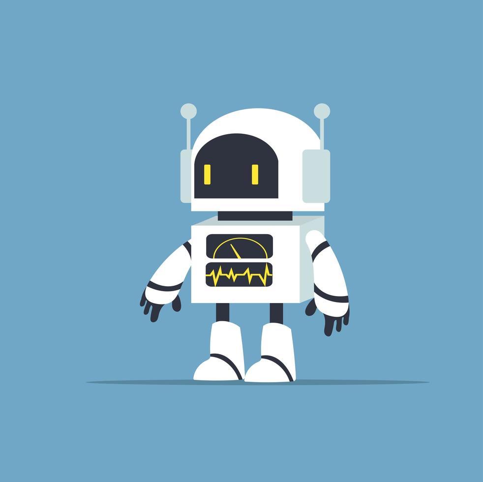 söt vit robot karaktär vektor
