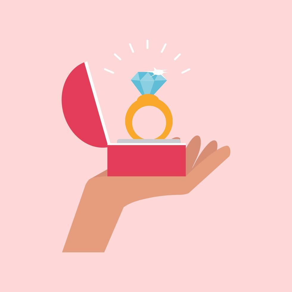 hand som håller en diamantringvektor vektor