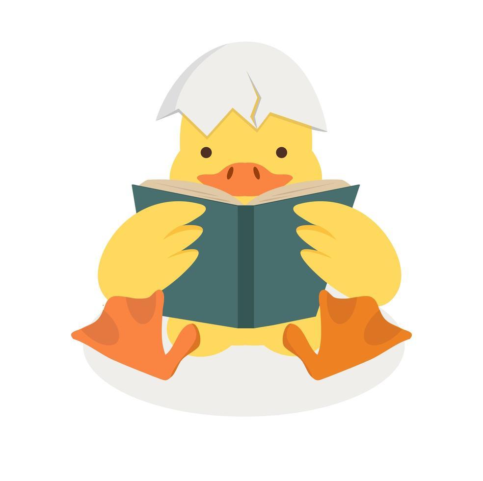 anka som läser en bok med trasigt äggskal vektor