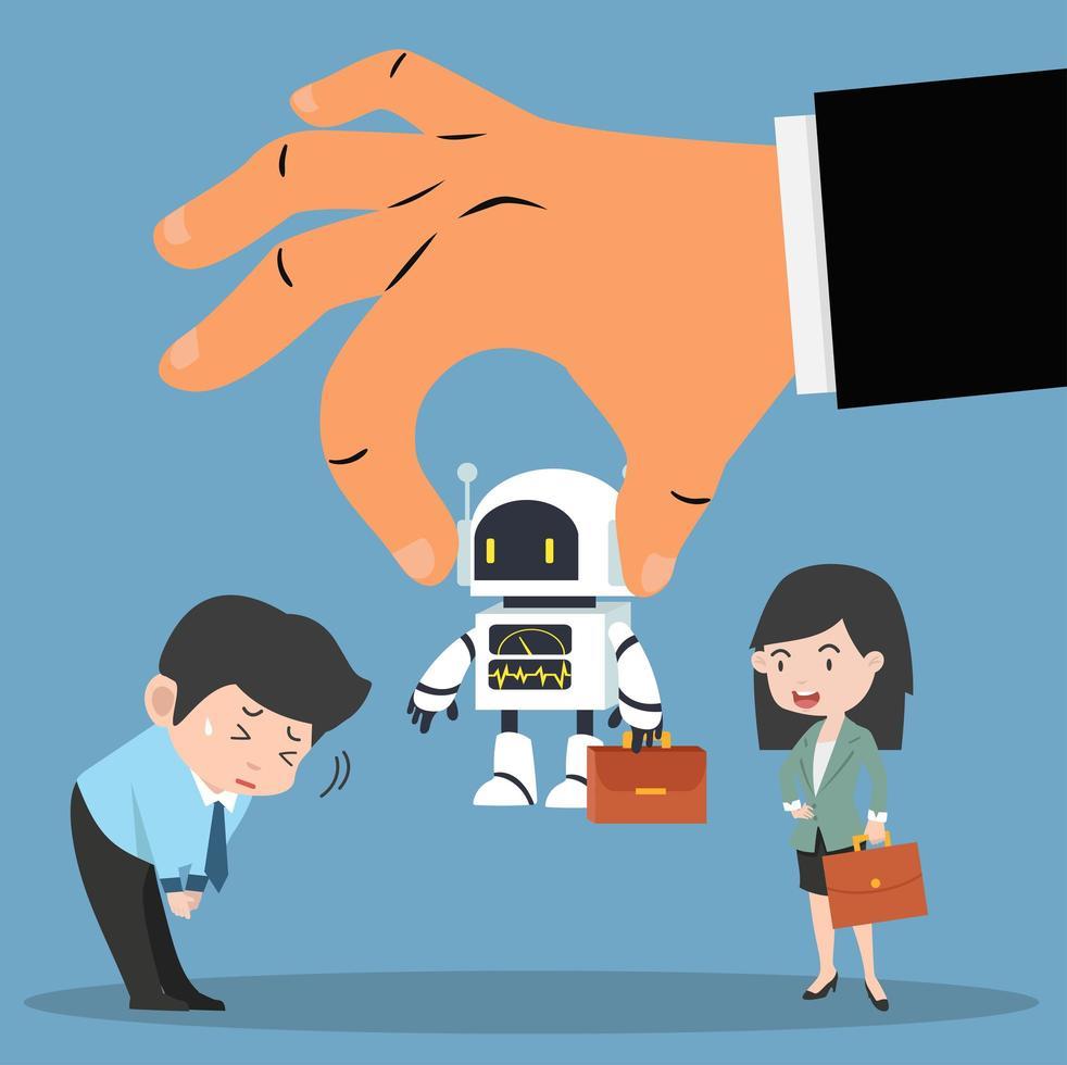 arbetsgivare hand väljer robot med affärsmän vektor