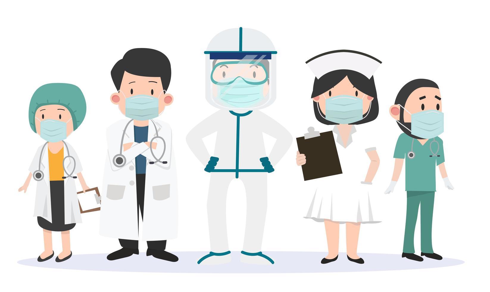 Gruppe von Ärzten und Krankenschwestern Team von Ärzten eingestellt vektor
