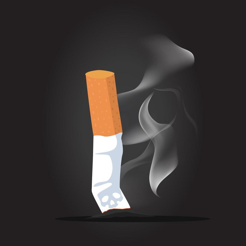 cigarettstump med rökbakgrund vektor