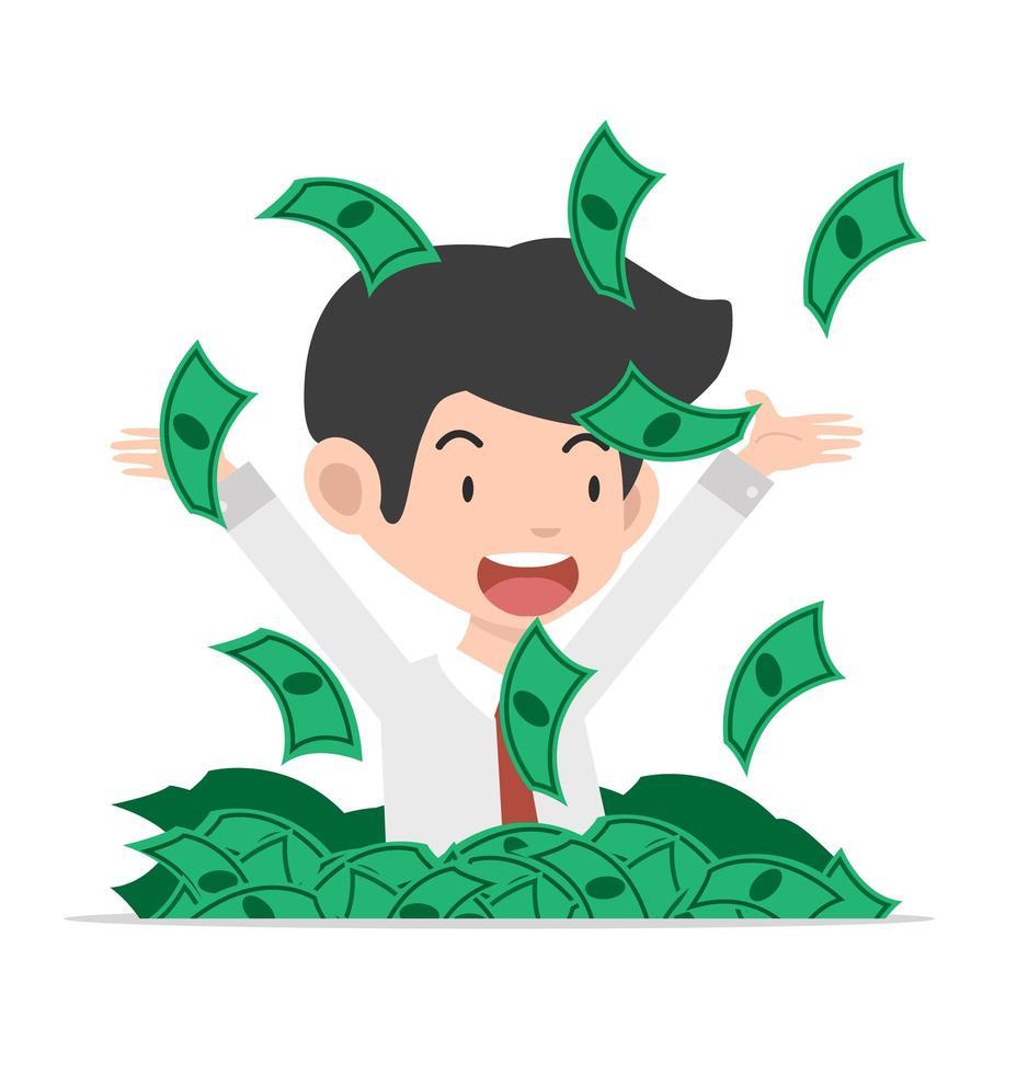 affärsman som kastar dollarsedlar vektor