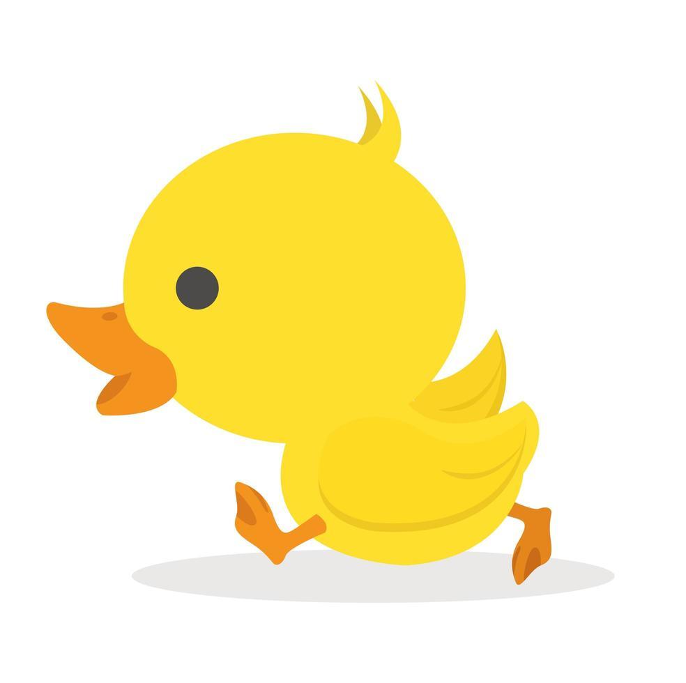 söt liten gul anka promenader vektor