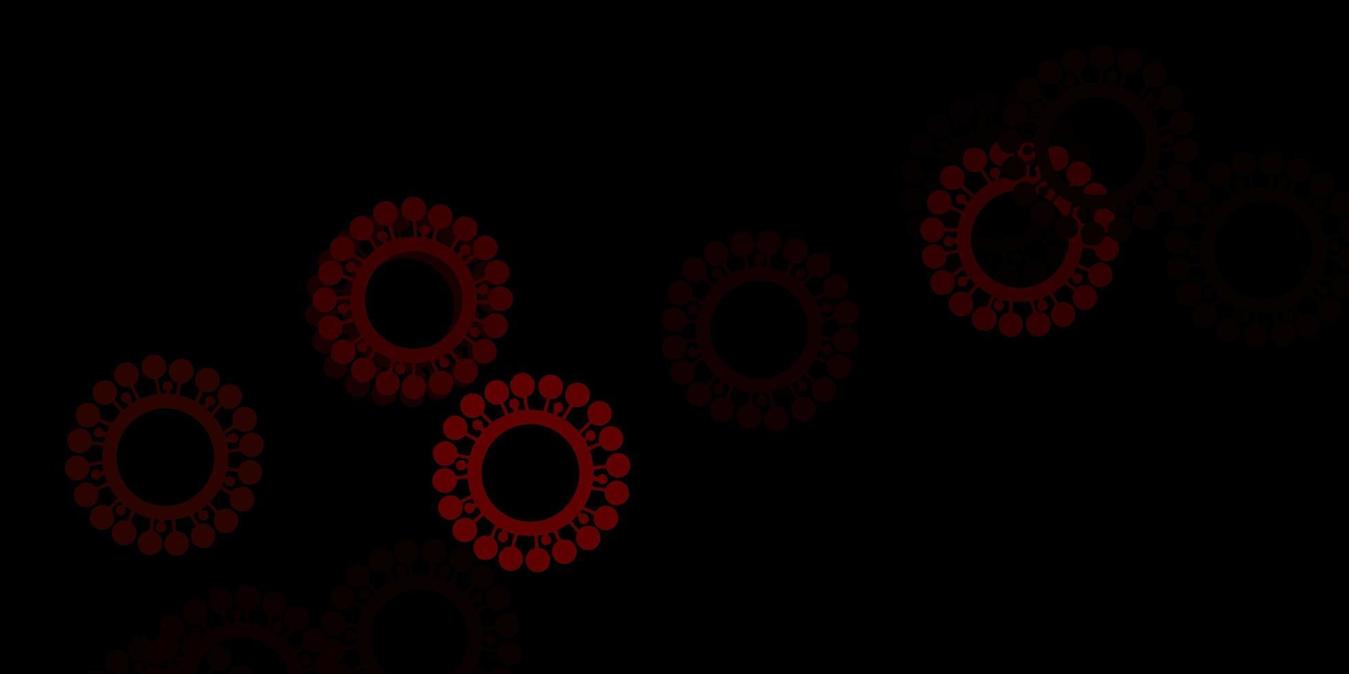 dunkelbrauner Vektorhintergrund mit covid-19 Symbolen vektor