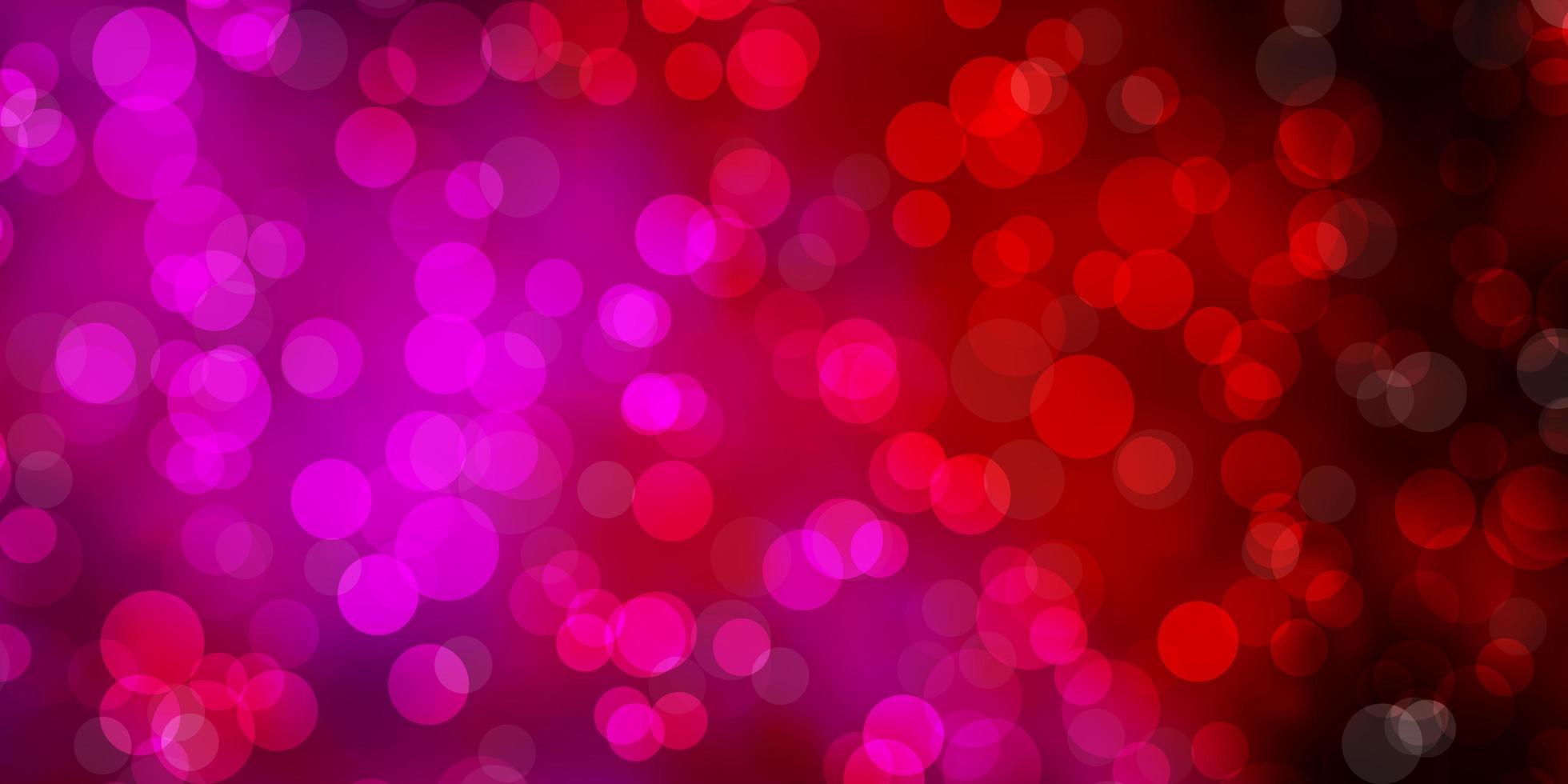mörk lila, rosa vektor konsistens med cirklar.