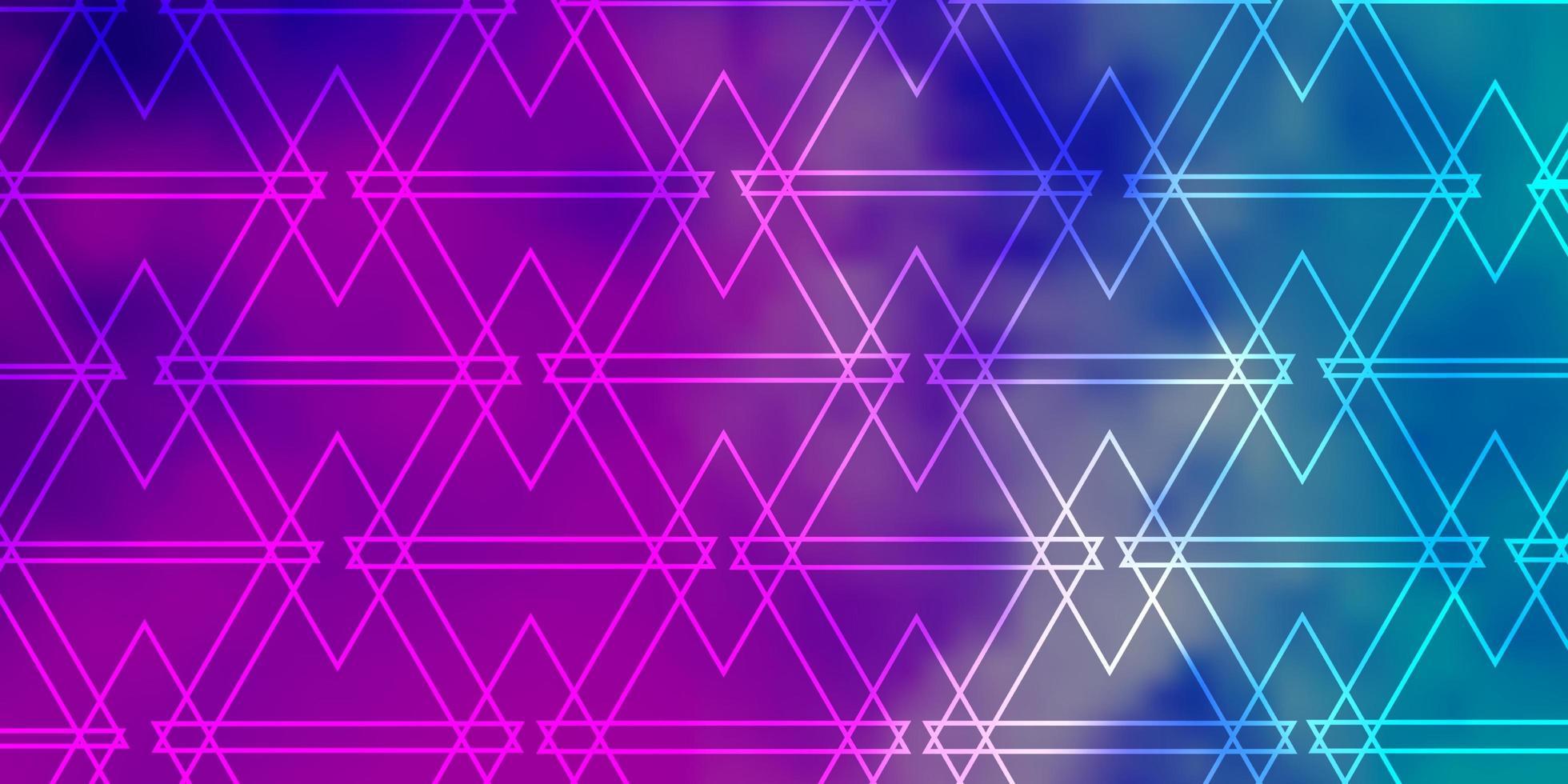 ljusrosa, blå vektorlayout med linjer, trianglar. vektor