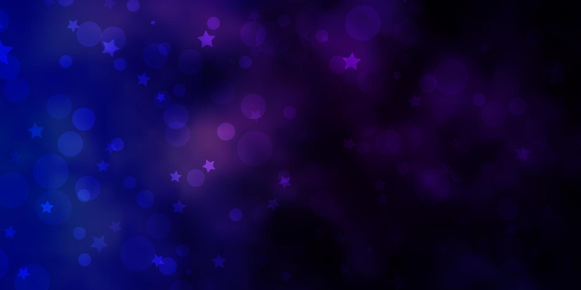 mörkrosa, blå vektorstruktur med cirklar, stjärnor. vektor