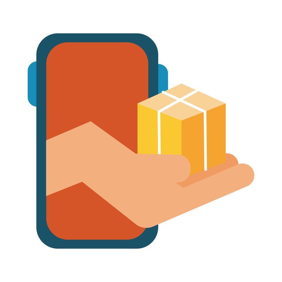 Smartphone mit Box Delivery Service Line und Füllstilsymbol vektor