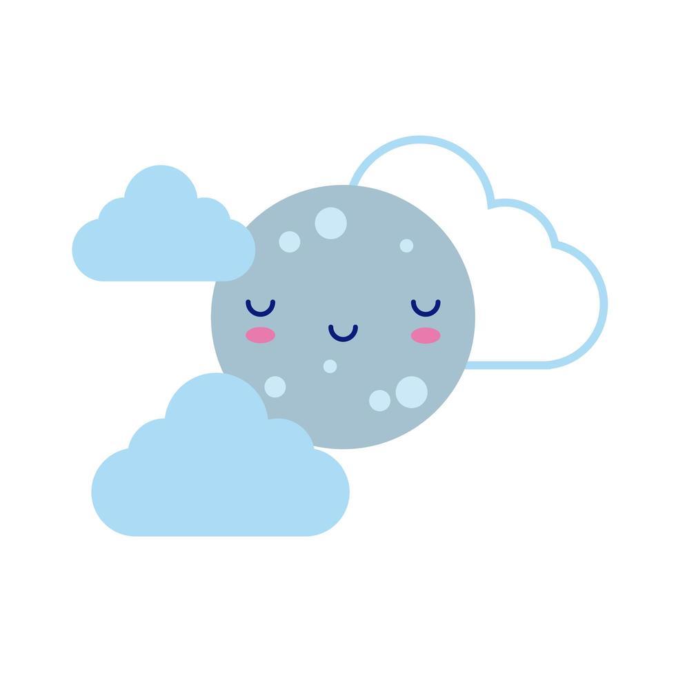 glücklicher Vollmond mit Wolken, kawaii Charakter flacher Stil vektor