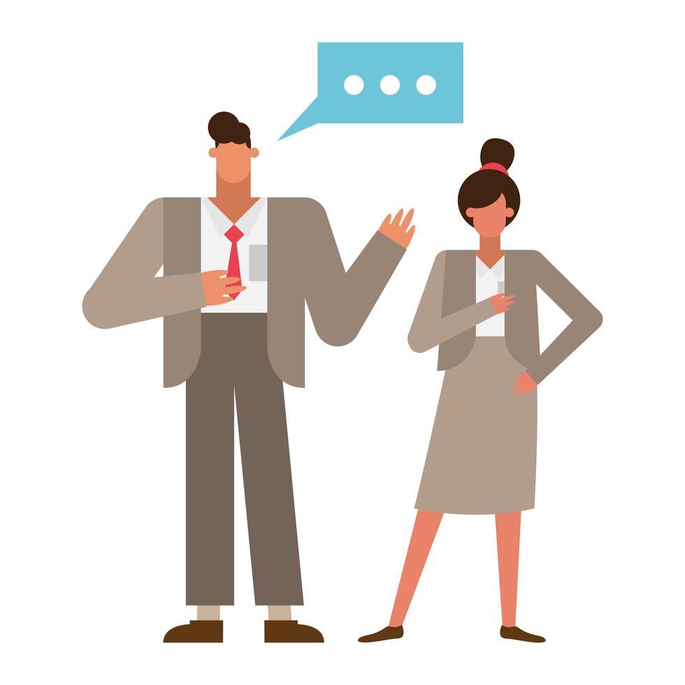 Geschäftsmann und Geschäftsfrau mit Sprachblasenvektorentwurf vektor