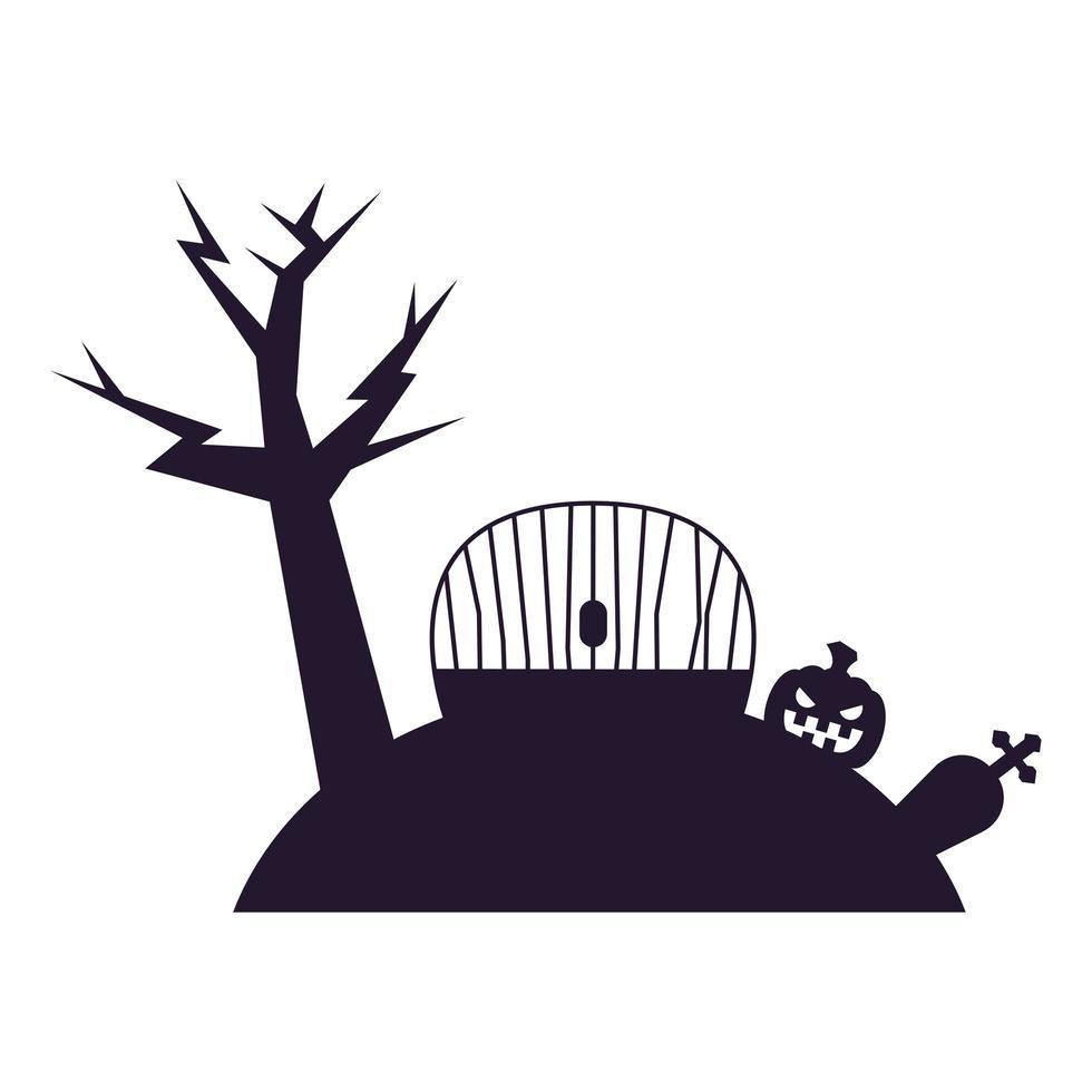Halloween-Baum mit Tor und Kürbisvektorentwurf vektor