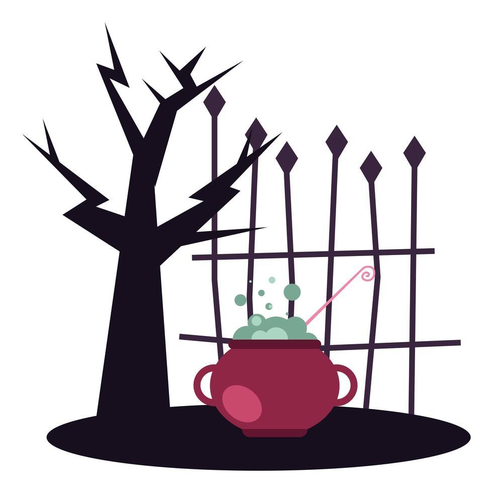 Halloween-Baum mit Hexenschale-Vektorentwurf vektor