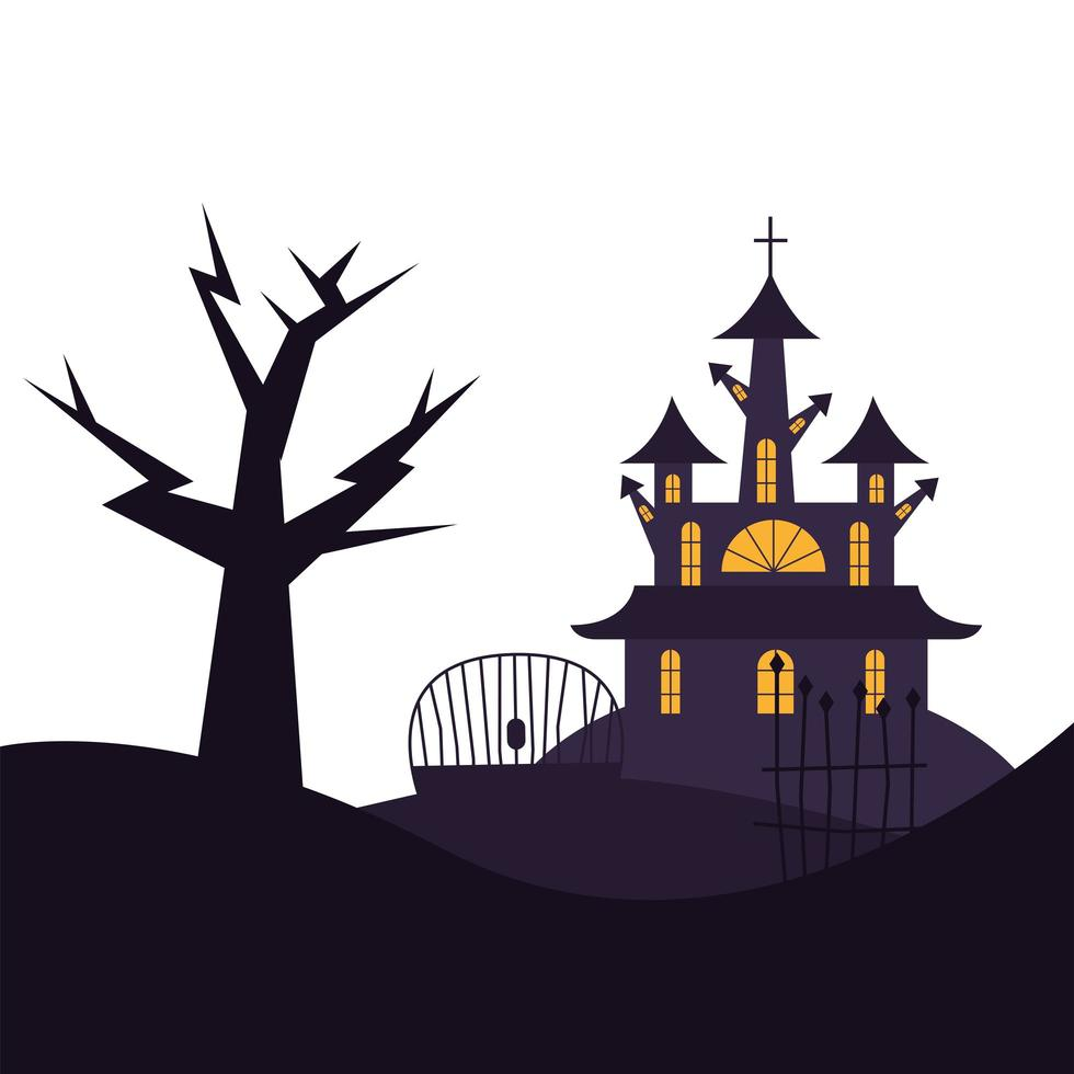 Halloween-Haustor und Baumvektorentwurf vektor