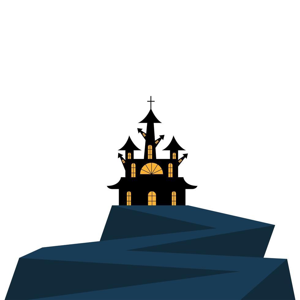 Halloween-Haus mit Kreuzvektorentwurf vektor