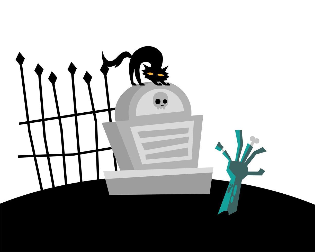 Halloween-Katze auf Grab und Zombie-Handvektorentwurf vektor
