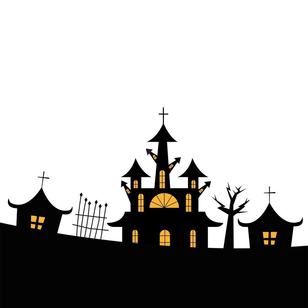 halloween hus med träd- och grindvektordesign vektor