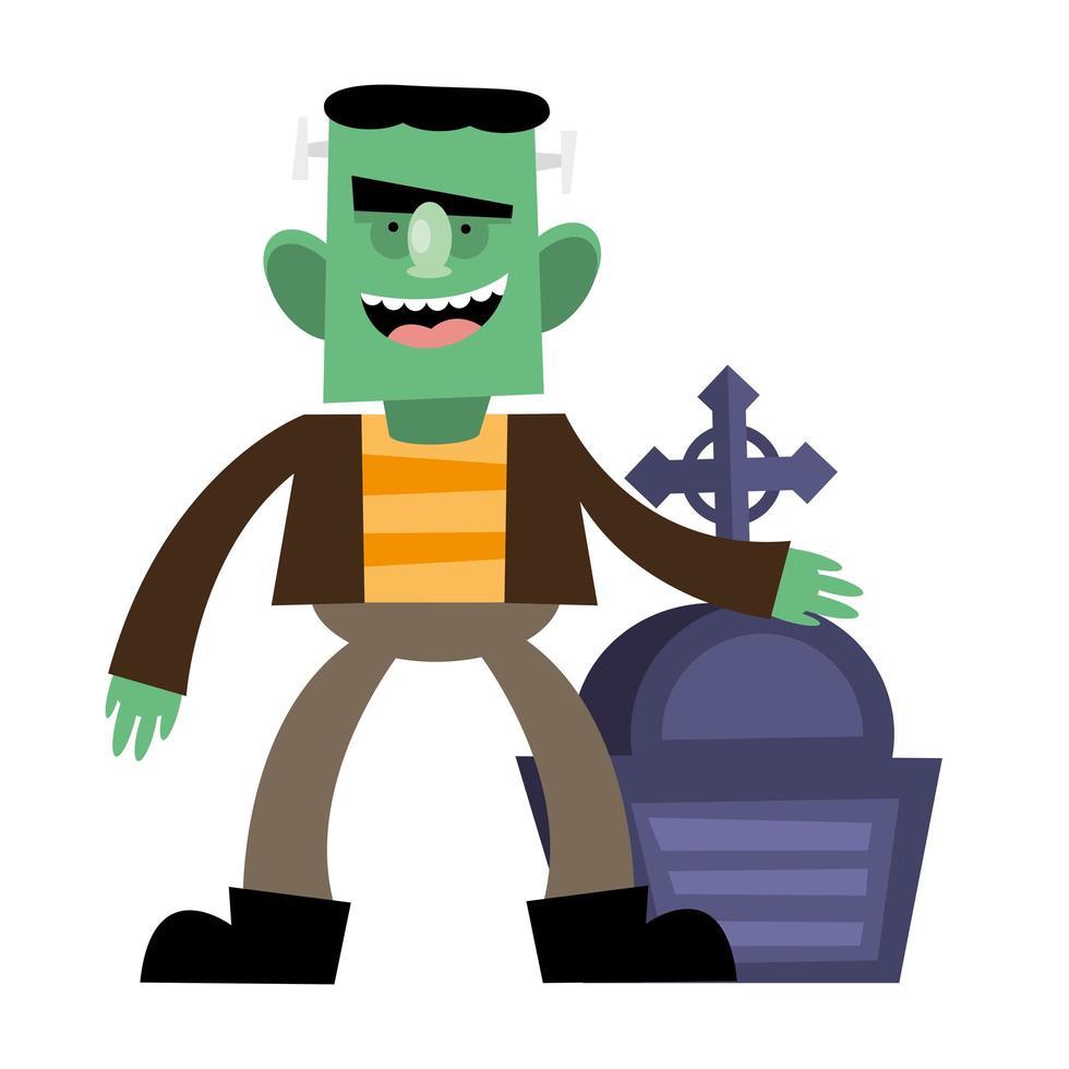 Halloween-Frankenstein-Karikatur mit Grabvektorentwurf vektor