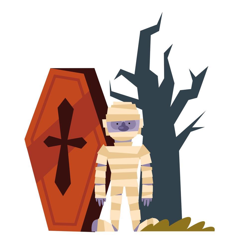Halloween Mumie Cartoon Sarg und nackten Baum Vektor-Design vektor