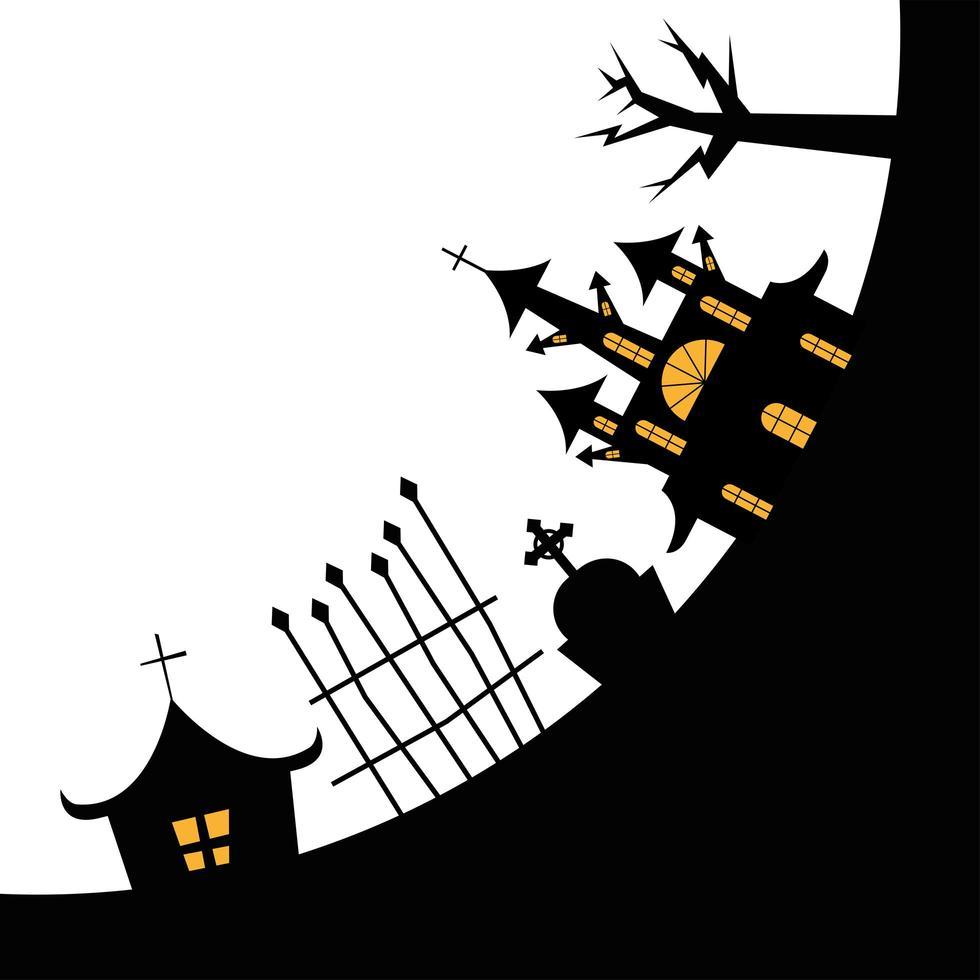Halloween-Häuser mit Baum-, Grab- und Torvektorentwurf vektor