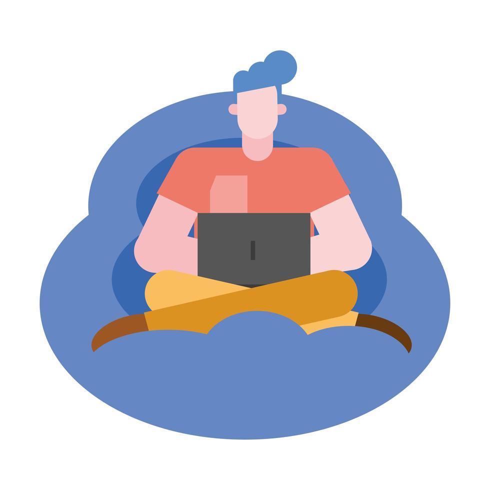 man tecknad med laptop på puff vektor design
