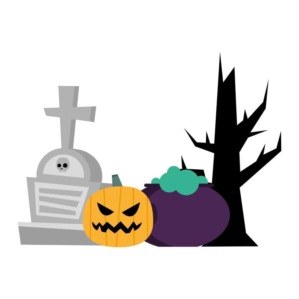Halloween Kürbis, Hexenschale, Grab und Baumvektorentwurf vektor
