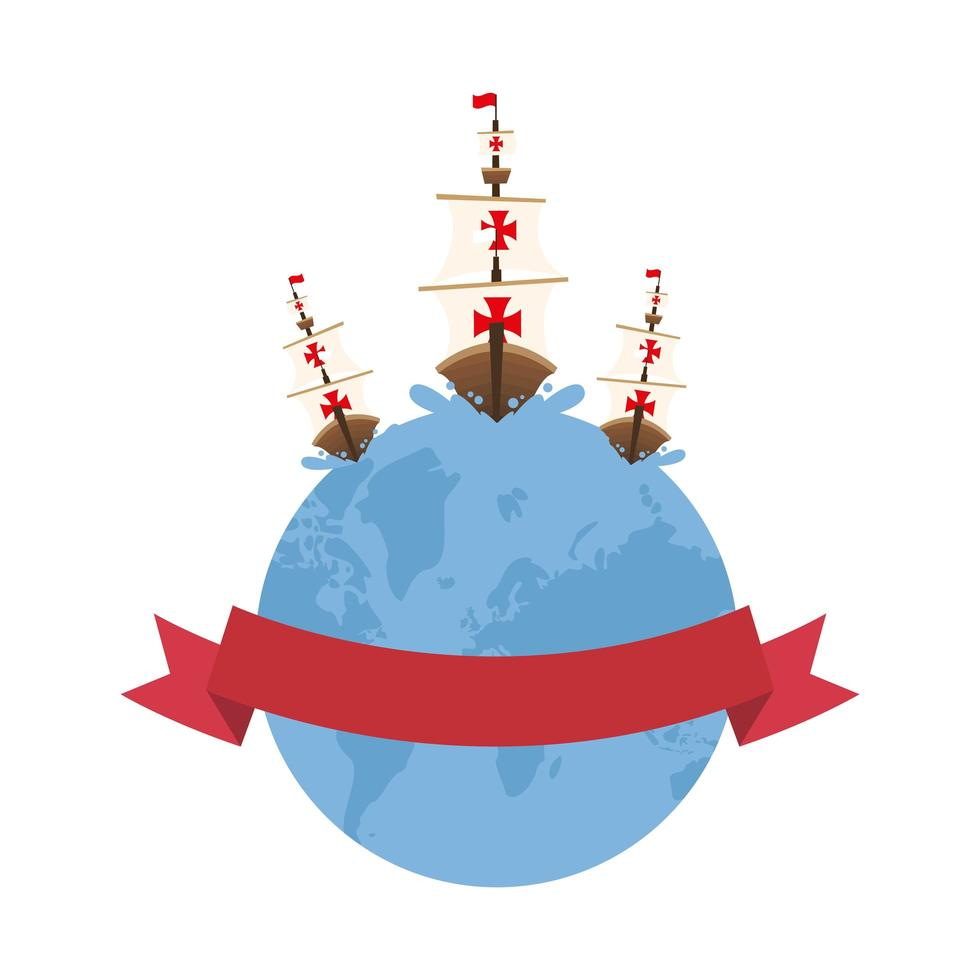 Christopher Columbus Schiffe auf der Welt mit Band Vektor-Design vektor