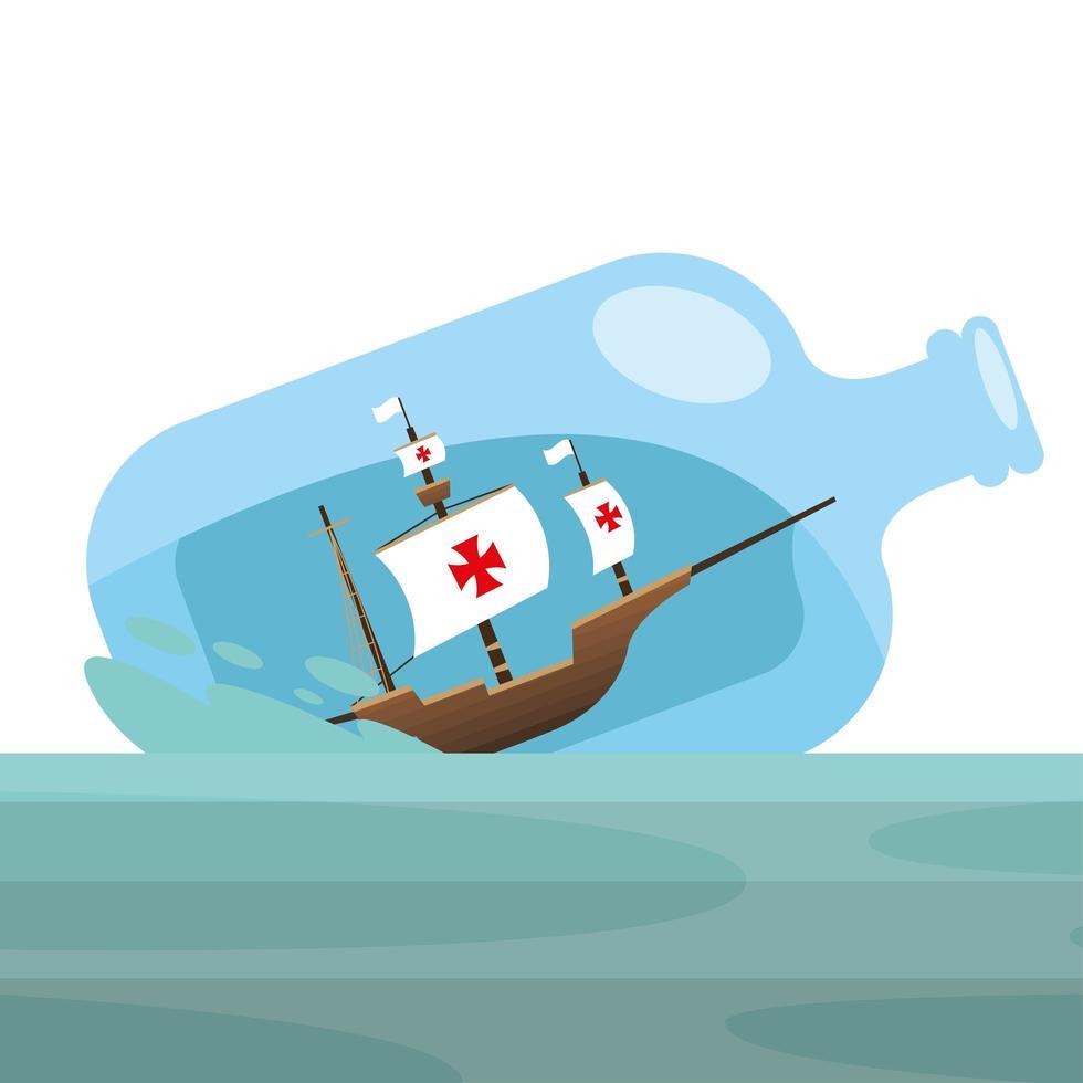 Christopher Columbus Schiff in der Flasche am Seevektorentwurf vektor