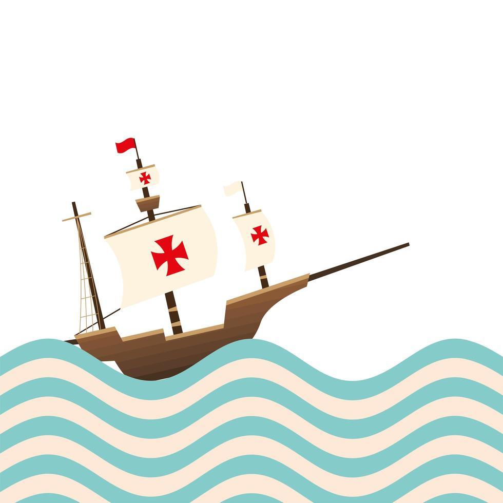 Christopher Columbus Schiff auf dem gestreiften Seevektorentwurf vektor